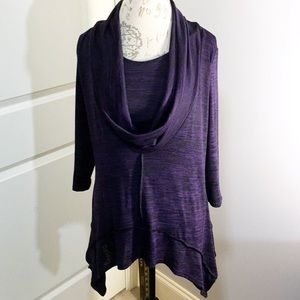 Coco Bianco Purple Cowl Neck Tunic Large